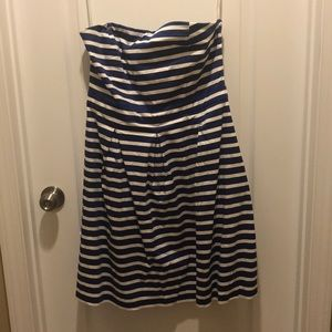 Gap size 14 strapless navy and white dress